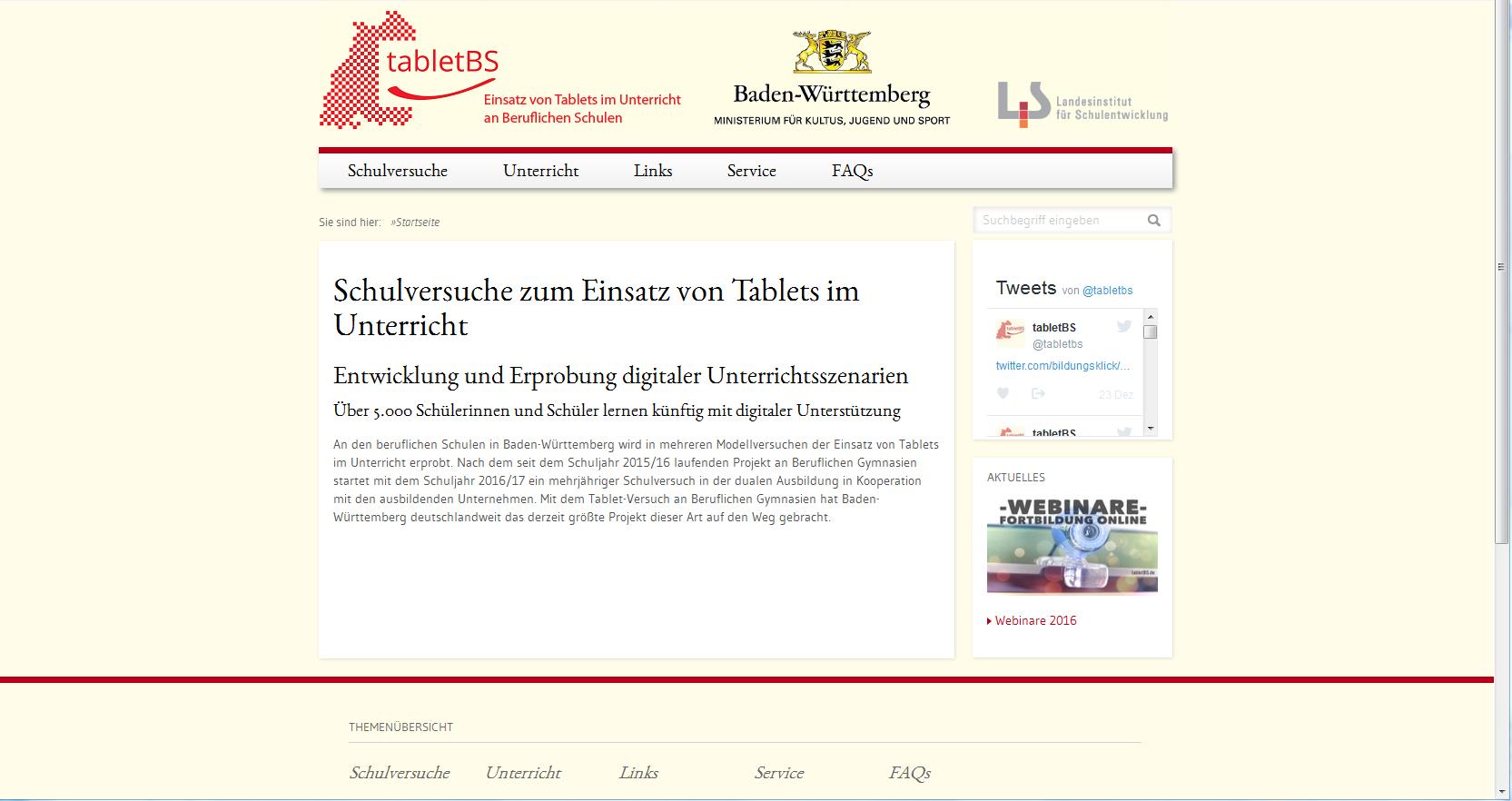 tabletBS – Tablets im Unterricht an Beruflichen Schulen