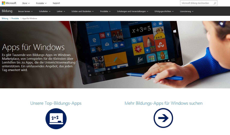 Windows-Apps: Suchen nach Bildungsapps
