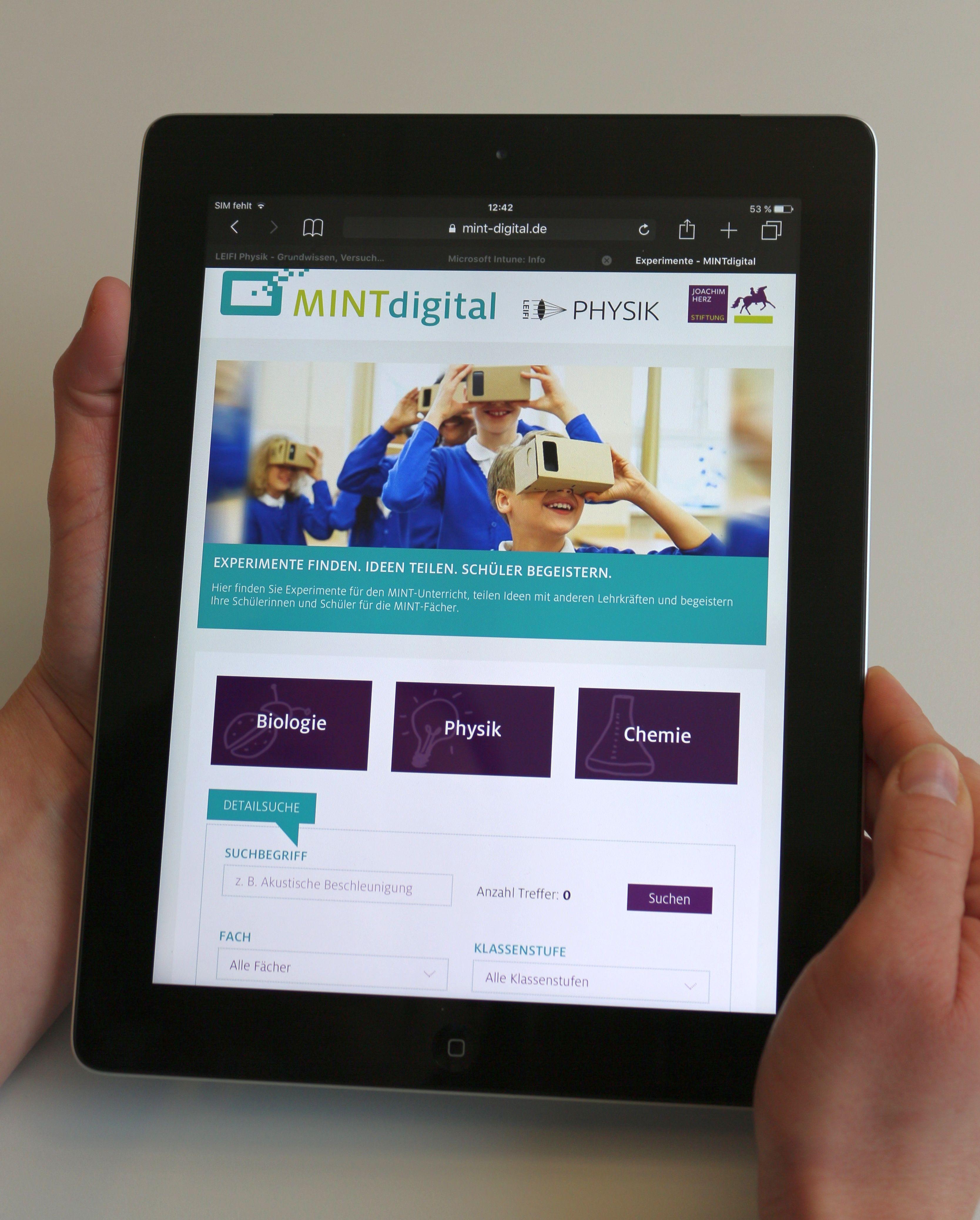Digitale Unterrichtsmaterialien der Joachim Herz Stiftung für SchülerInnen und Lehrkräfte