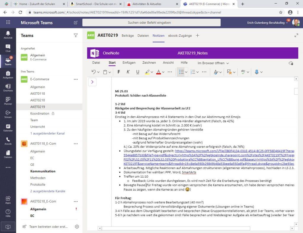 Stundenprotokoll für Staffelstab-Prinzip in Microsoft Teams